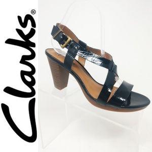 Clark's Black Leather Strappy Dress Sandals 9